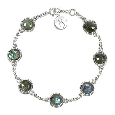 nouvelle arrivee e79cd 0ea94 Mystic Silver - Bracelet Femme Labradorite naturele, en ...
