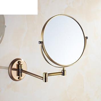 Bathroom Vanity Mirror Antique Brass Retractable Wall Mounted Folding
