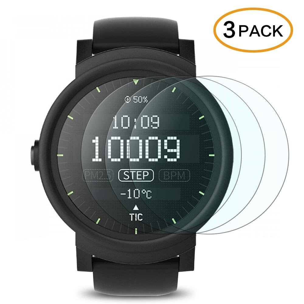 Ticwatch E Screen Protector Ticwatch 2/S Tempered Glass 3 Pack 9H Hardness Anti-Scratch Bubble Free Film
