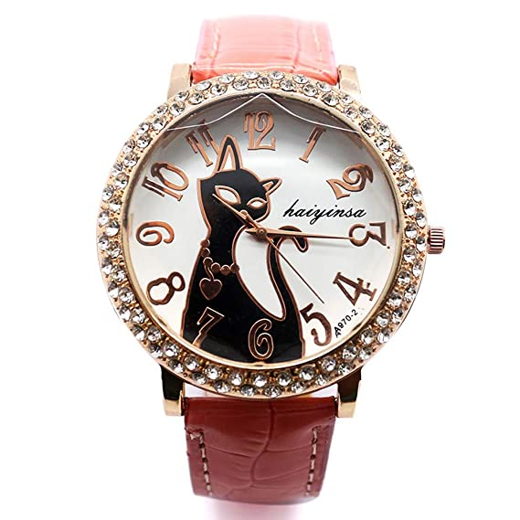 Bonito Reloj de Pulsera, Colorido Cristal Gato Esfera Redonda de Cuarzo Reloj para Hombre Mujer, Mujer Mujer Reloj: Amazon.es: Relojes