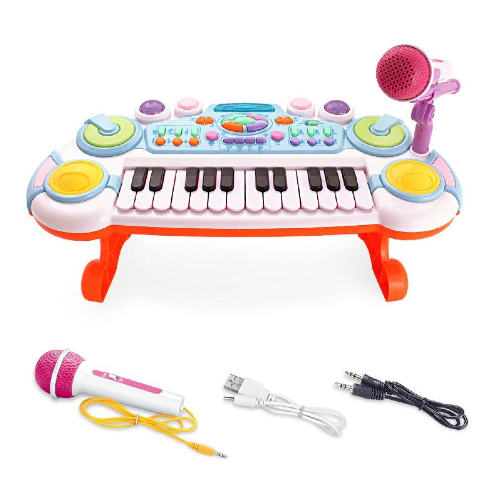 Multifunktionale Wiederaufladbare Tastatur Musik Früherziehung Kinder Spielzeug Elektronische Tastatur mit Mikrofon,ROT