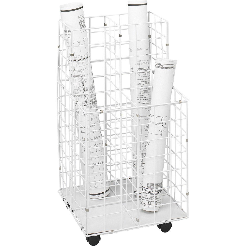 Safco 3084 - Wire Roll Files, 4 Compartments, 16-1/4w x 16-1/2d x 30-1/2h, White by Safco