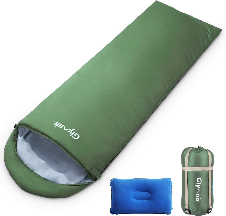 Glymnis Saco de Dormir con Almohada Inflable y Bolsa de Compresi/ón Saco de Dormir de Verano 25-30℃ para Viaje Camping Senderismo 220x75 cm