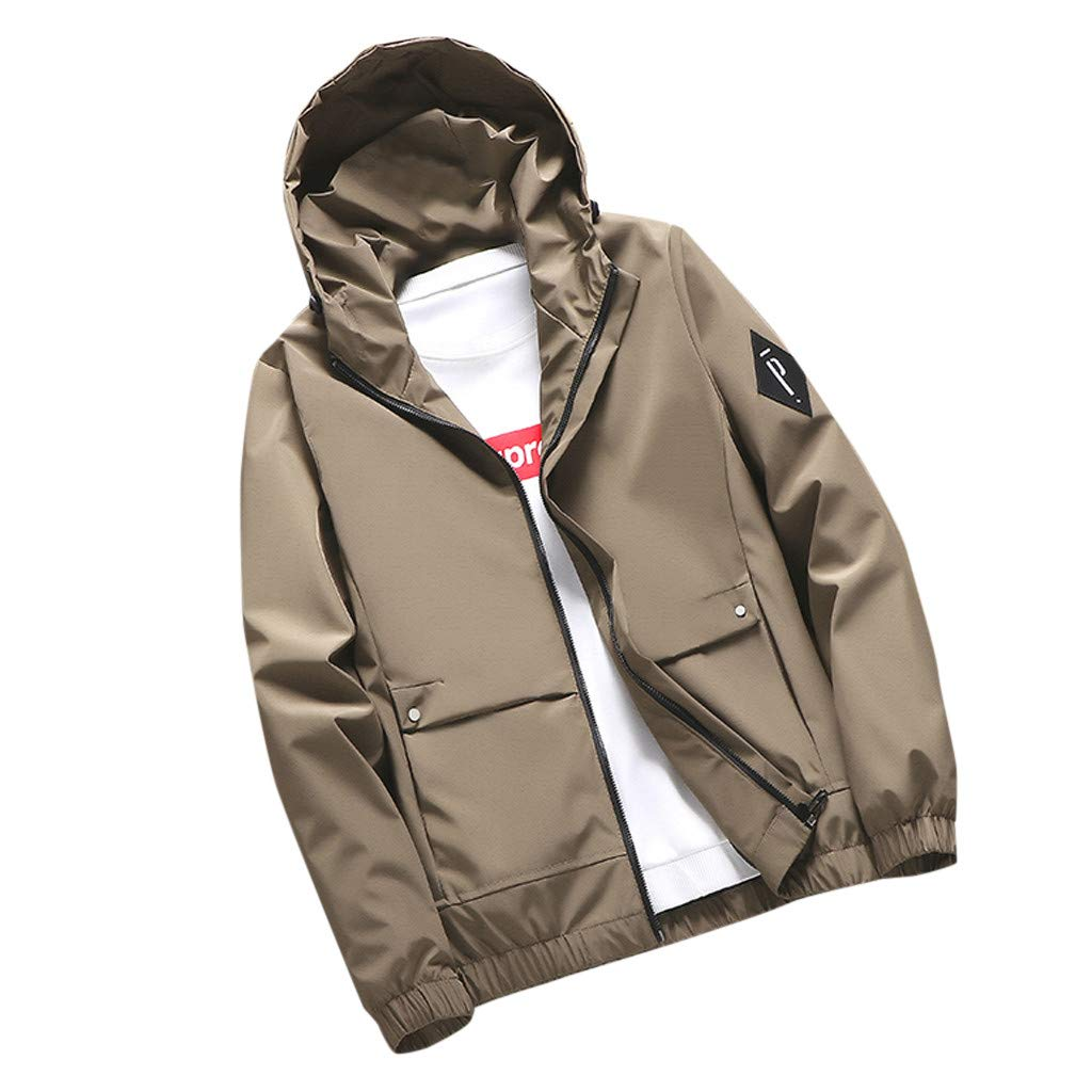Mens Outwear Jacket Coat Solid Color Tactical Softshell Hoodie Hiking Hunting Lightweight Coat Jacket Active Jacket 8XL Khaki by F_Gotal Mens blazer