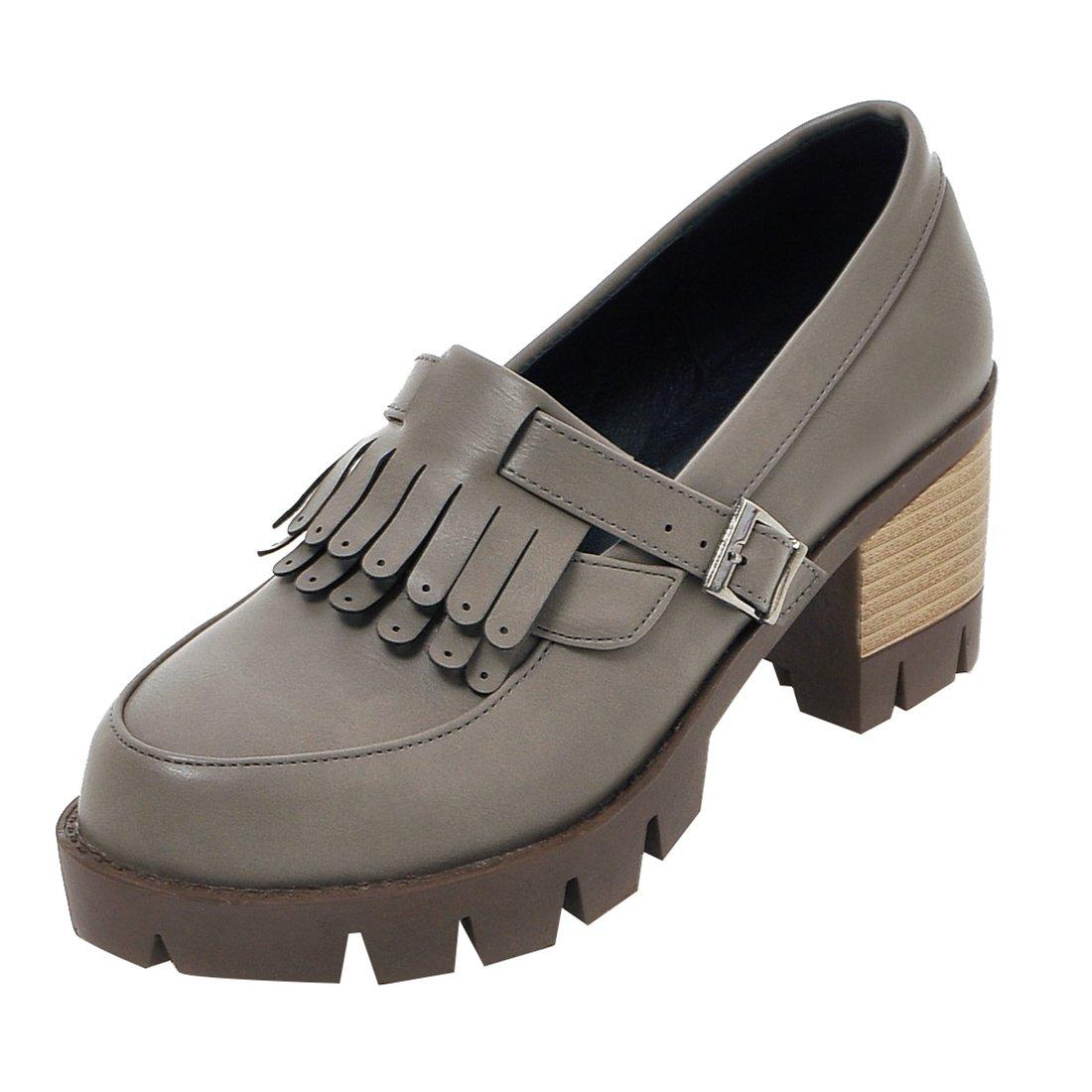 UH Damen Chunky High Heels Blockabsatz Plateau Pumps mit Fransen Bequeme Schuhe
