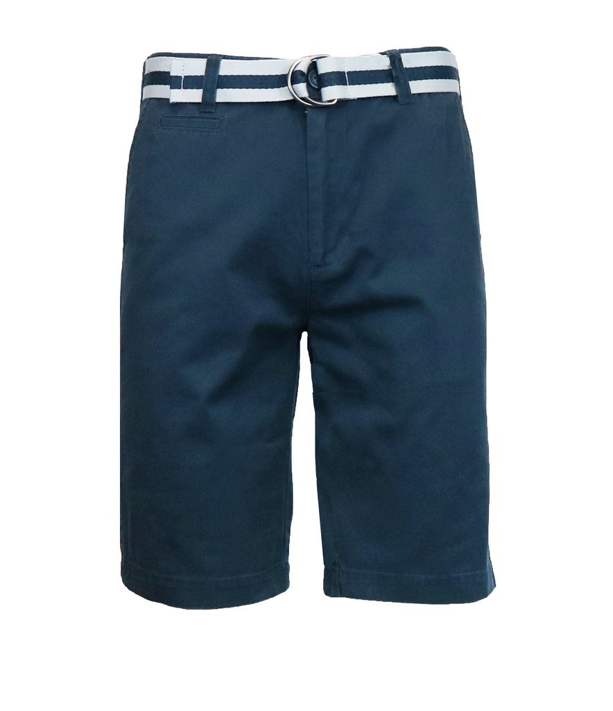 Galaxy by Harvic Men's 100% Fine Cotton Twill Flat Front Belted Shorts with Contrast Stripe - Skipper Navy, Size 36
