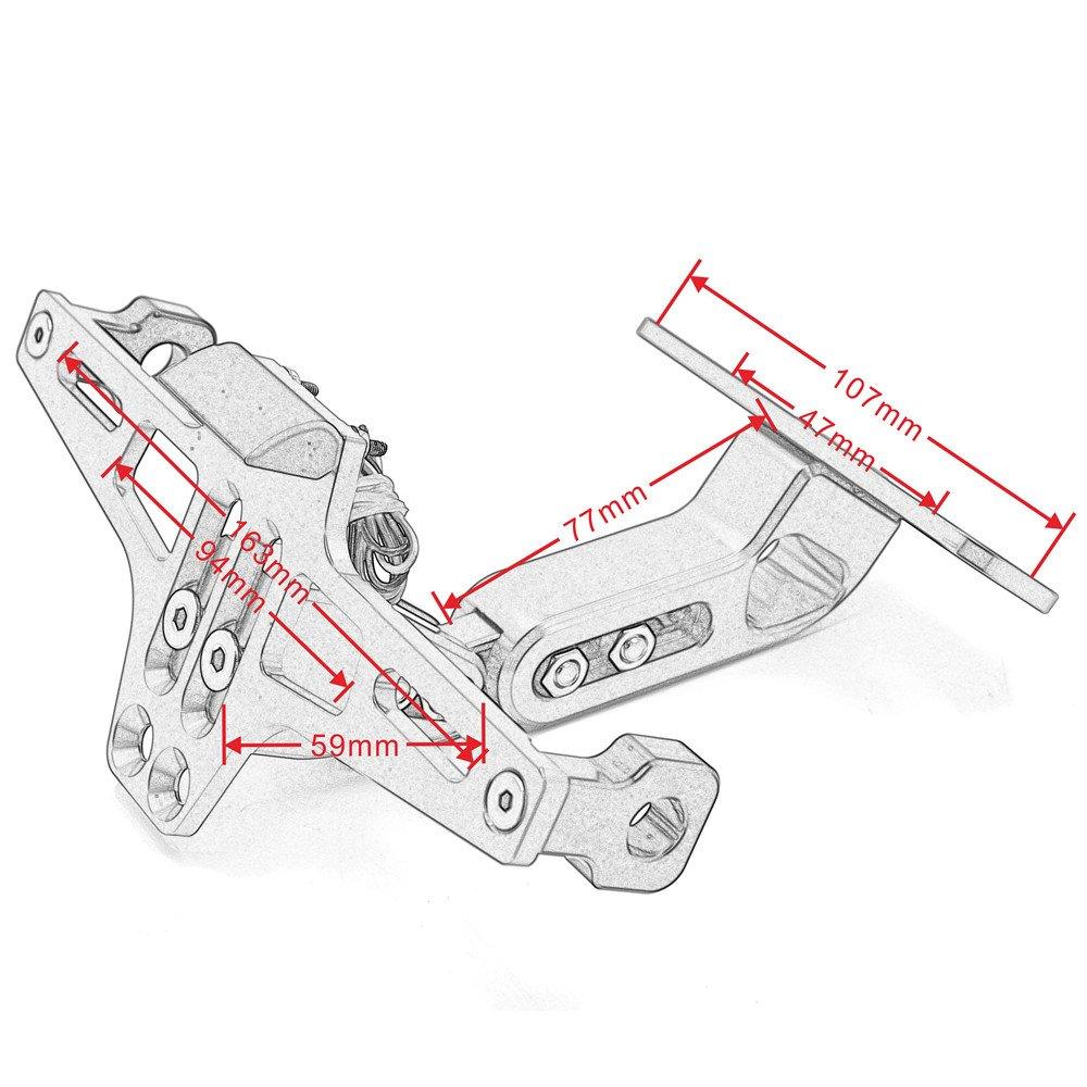Soporte ajustable del sostenedor de los marcos de la placa de aluminio de la motocicleta con la luz de la placa LED