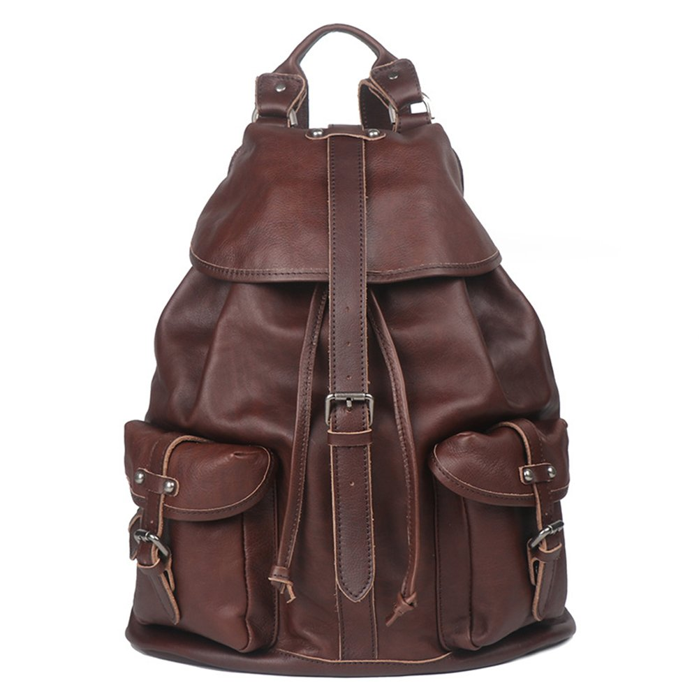 Genda 2Archer Genuine Leather Backpack Purse for Men Women (Coffee)
