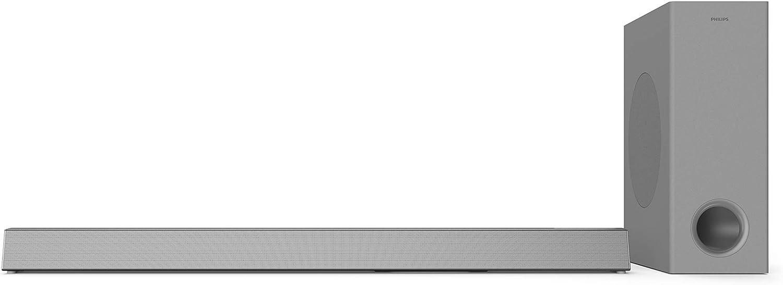 Barra de Sonido para TV Philips HTL3325/10 Barra de Sonido TV (Bluetooth, Dolby Audio, 300 vatios, subwoofer inalámbrico, HDMI ARC, USB), Color Plata