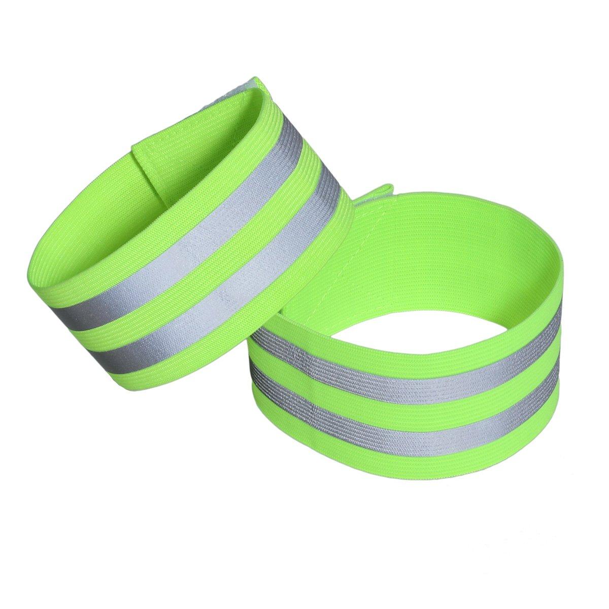 LIOOBO 1 para Reflektierende Bänder für Handgelenk Arm Knöchelbein Reflektierende Laufbekleidung für Männer Frauen Nacht Laufen Radfahren Wandern Fahrrad (Grün)