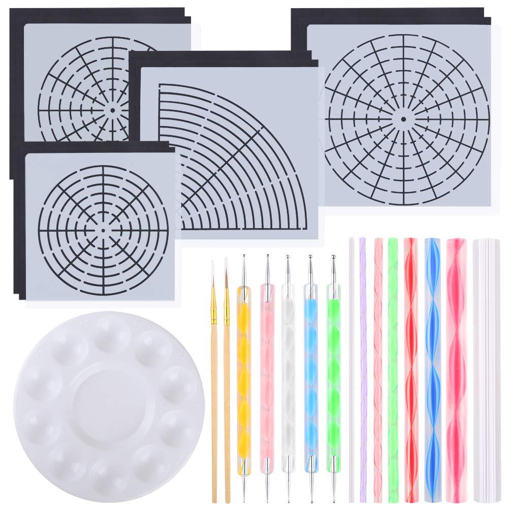 Auihiay 28 Pieces Mandala Painting Kits Mandala Dotting Tools with Paint Tray, Mandala Stencil, Cardstocks, Acrylic Dotting Rods, Paint Brushes and Double Sided Dotting Tools for Wall, Rocks, Painting