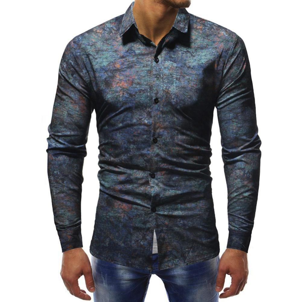iLXHD Mens Long Sleeve Slim fit Casual Printed Shirts Tops Blouse (Multicolor 1,US L/CN XL)