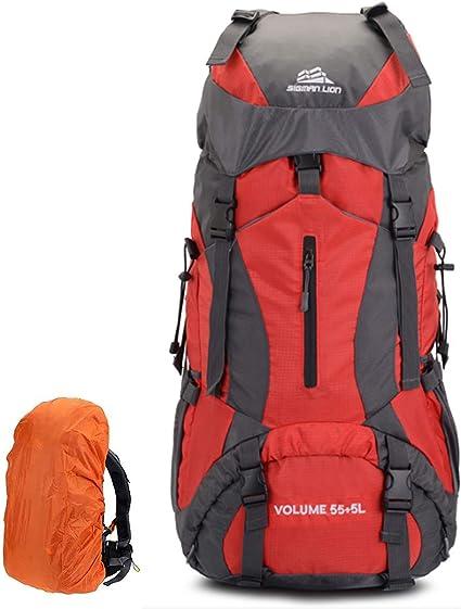 Sacs de Trekking 60L Travel Backpack en Nylon Sacs à Dos de Randonnée  Étanche avec Housse de Pluie pour Femme Homme Alpinisme Camping Randonnée  Sport ...