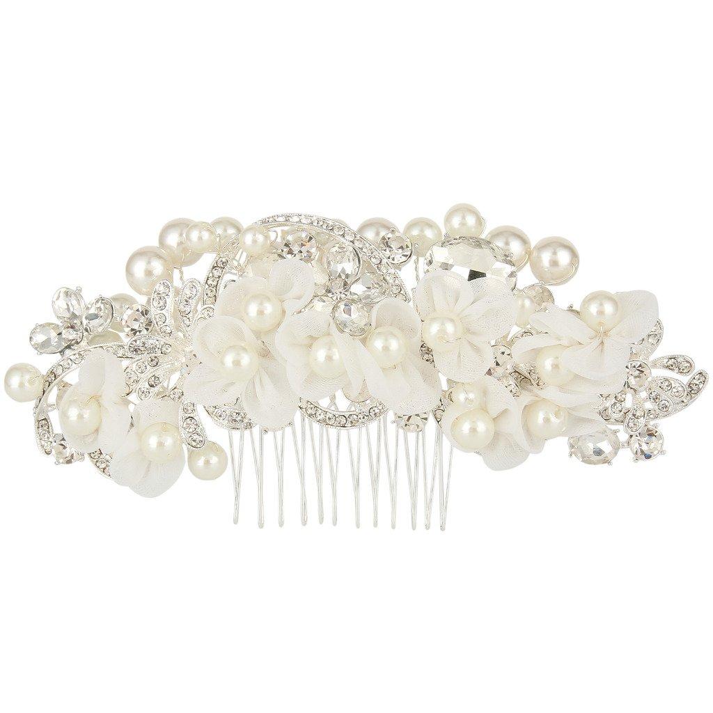 Ever Faith Capelli del fiore del merletto di stile Vintange simulata perla di cristallo da sposa Pettine d'argento-tono N05716-1