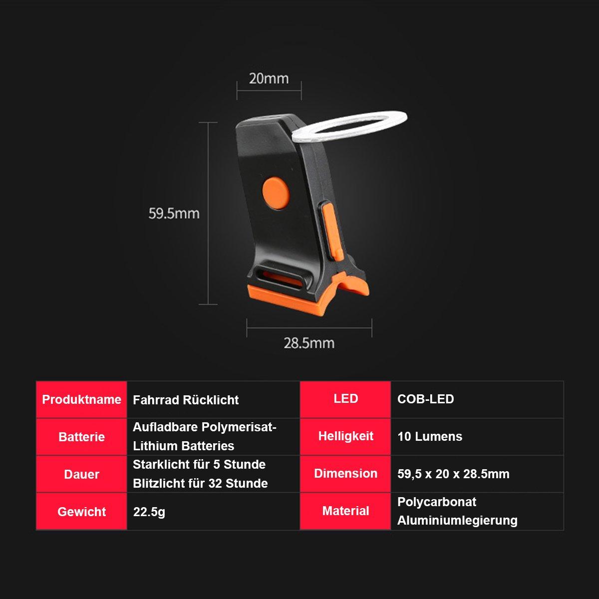 Bicicleta Luz trasera 3/tipos /& # xff08; triangular coraz/ón y C/írculo /& # xff09; liebenswert Mini bicicleta l/ámpara Super claro y USB aufladebar F/ácil Instalaci/ón con 3/Modos de Luz