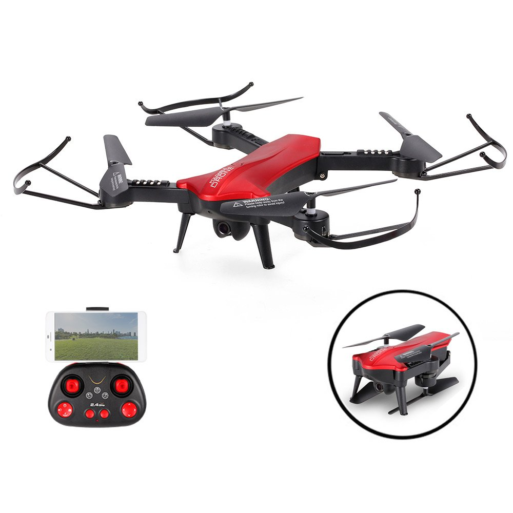 SZJJX RC Drones Foldable Remote Control Wifi Quadcopter FPV VR Helicopter 2.4GHz 6-Axis Gyro 4CH with Adjustable Wide Angle 2MP HD Camera RTF SJ60 (Red) by SZJJX