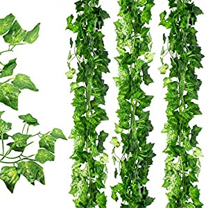 Awtlife 36pcs Artificial Fake Ivy Leaves Garland Hanging for Wedding Party Garden Wall Decoration 2
