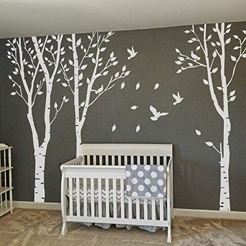 Tree Decals For Nursery - MairGwall Set of 3 Birch Trees with Flying Birds Wall Stickers - Beautiful Tree Wall Decal Vinyl Wall Art Decor for Nursery Kids Rooms Bedroom Living Room