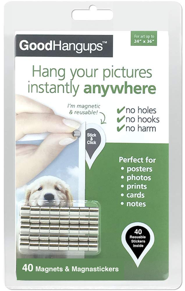 GoodHangups Damage Free Magnetic Poster and Picture Hangers Reusable Works on Any Wall As Seen On Shark Tank 40 Pack