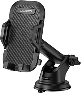 UGREEN Car Phone Mount Dashboard Windshield Cell Phone Holder with Washable Strong Sticky Gel Compatible for iPhone 11 Pro Max XR X XS 8 7 6 Plus 6S, Samsung Galaxy S20 Ultra S10 S9 S8 Note 10 9 8
