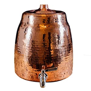 Sertodo Copper WD-N Niagara Water Dispenser without Lid, Hand Hammered 100% Pure Copper, 2.5 Gallon Capacity
