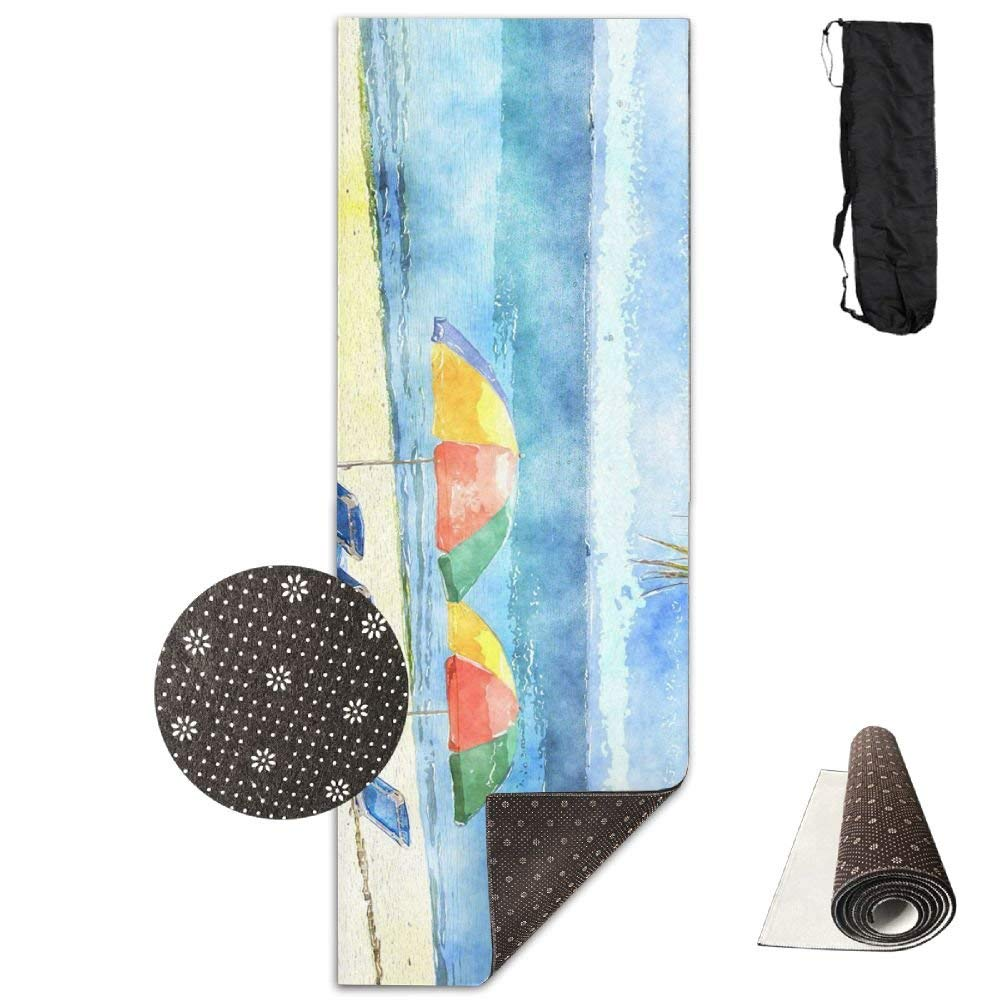 Tropical Watercolor Beach Deluxe,Yoga Mat Aerobic Exercise Pilates Anti-slip Gymnastics Mats