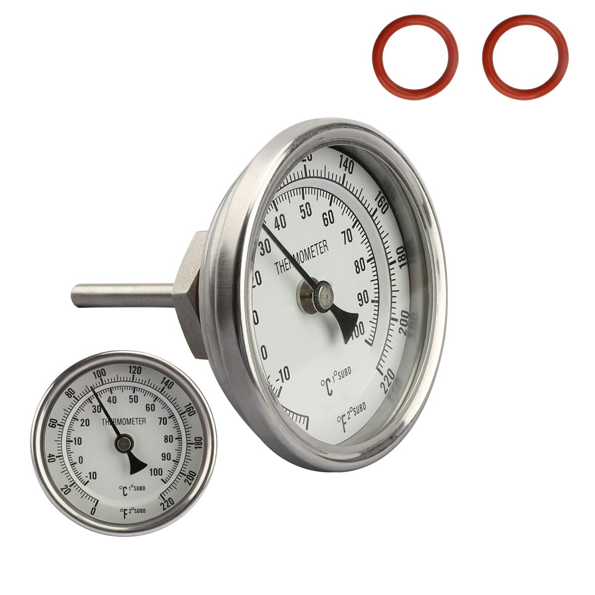 Dial Thermometer 1/2 NPT Thread Pot Thermometer 304 SS Kettle Thermometer with Mounting Assembly for Brewing Beer (3'' Face)