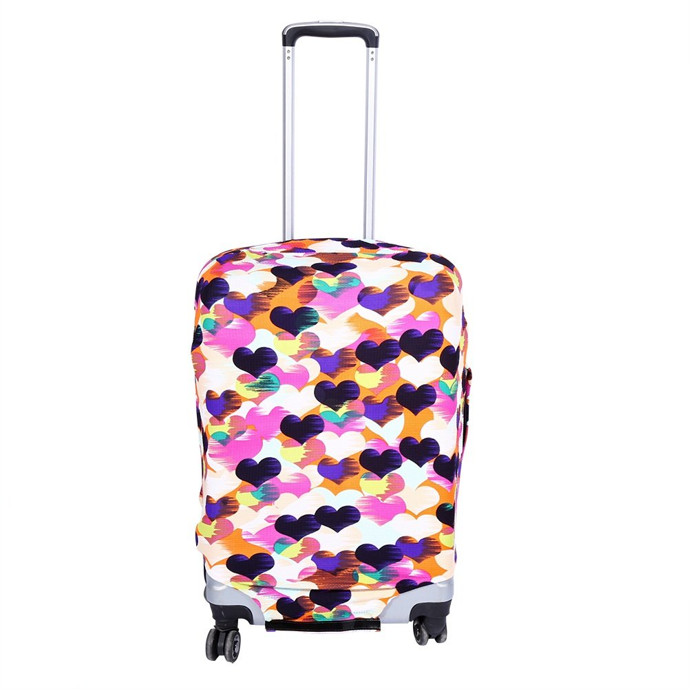 Luggage Protector Cover Suitcase Protective Cover Elastic Dust-proof Fits For 18-28'' Suitcase For Travel Home Use, Colorful Heart(S 18-22'')