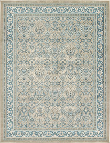 Luxury Vintage Persian Design Meshkabad Rug Beige 9' x 12' St.George Collection Area Rugs from A2Z Rug