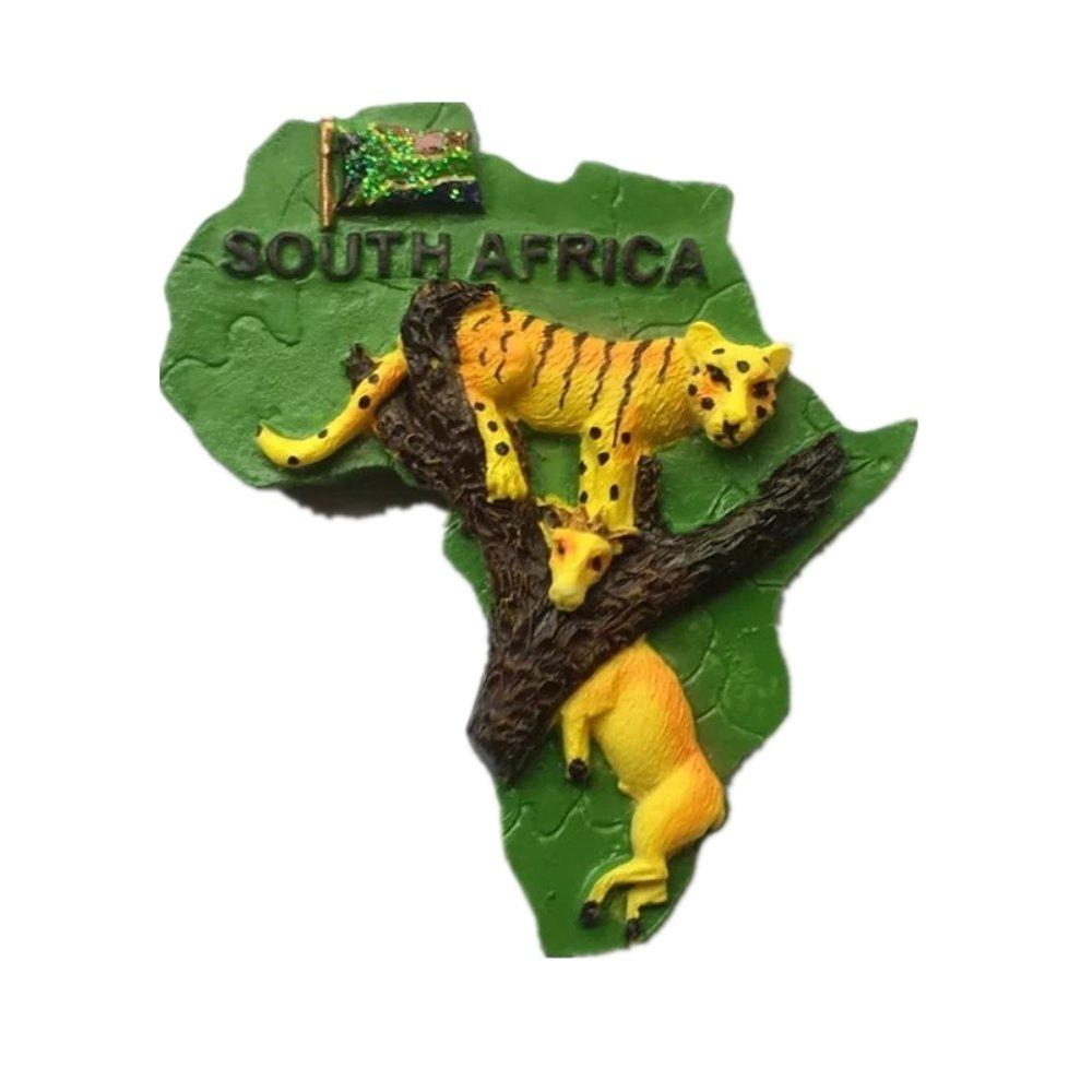 Animals Leopard South Africa resina 3D forte magnete magnete souvenir Tourist Gift cinese fatta a mano artigianale creativo decorazione della casa e cucina magnetico adesivo