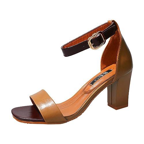 1e643665fa9c Sonnena Women s Classic Square Open Toe Strappy Ankle Buckle Sandals Low  Block Heels Court Shoes  Amazon.co.uk  Shoes   Bags