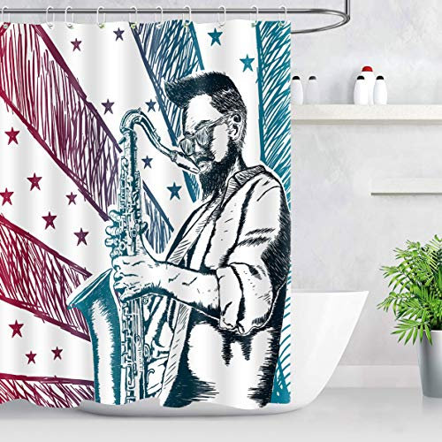 NEWTOO Music Shower Curtain, Musician Playing Saxophone Art Decor for Bathroom, Waterproof Fabric Set with Hooks, 60W X 72L Inches, LHNT261-60 (Top 5 Hip Hop Artists Of All Time)