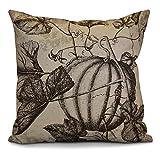 E by design O5PHFN750BR11-18 18 x 18'' Antique Pumpkin Floral Print Brown Outdoor Pillow
