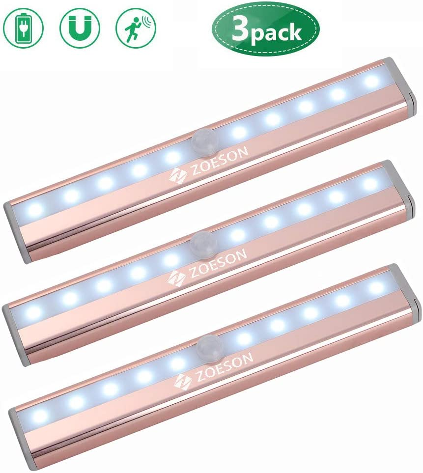 Motion Sensor Led Light, Zoeson Wireless 10 LED Closet Lights, Rechargeable Battery, Light Induction Magnetic Security Nightlight for Cabinet, Wardrobe, Kitchen, Bedroom 3 Pack