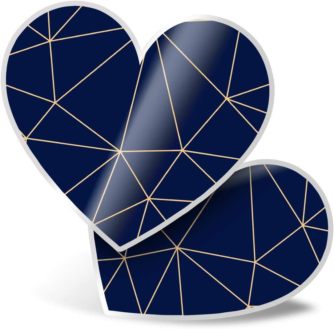 Awesome 2 x Heart Stickers 7.5 cm - Fun Geometric Art Deco Retro Fun Decals for Laptops,Tablets,Luggage,Scrap Booking,Fridges,Cool Gift #3959