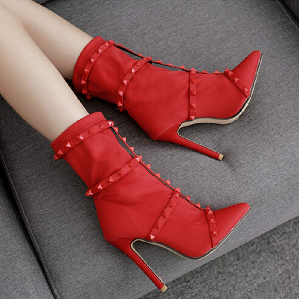 Lurryly❤Womens Fashion Winter Leather Boots Ankle Boot Rivet Classic Bootie Shoes