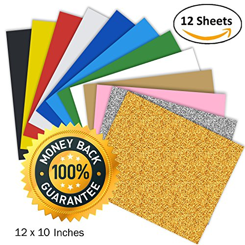 Heat Transfer Vinyl HTV, Unop 12 sheets 12''x10'' Assorted Colors Heat Transfer Bundle DIY T-Shirt/Hat/Bag for Silhouette Cameo/Cricut/Heat Machine Tool/Other Craft (12' Pink 50 Sheets)