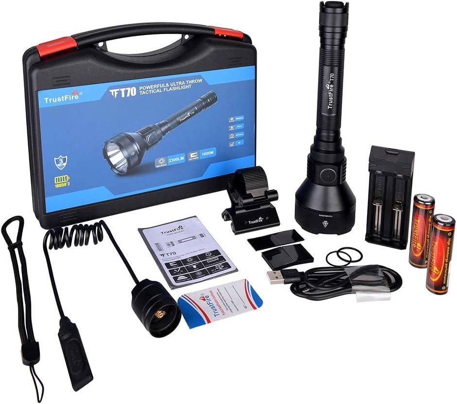 TrustFire T70 2300 Lumen LED Caza Antorcha Caza Linterna Interruptor dual con CREE XHP-35 HI Luz de rifle para caza Búsqueda y rescate Emergencia al aire libre 1000 metros Kit de larga distancia T70