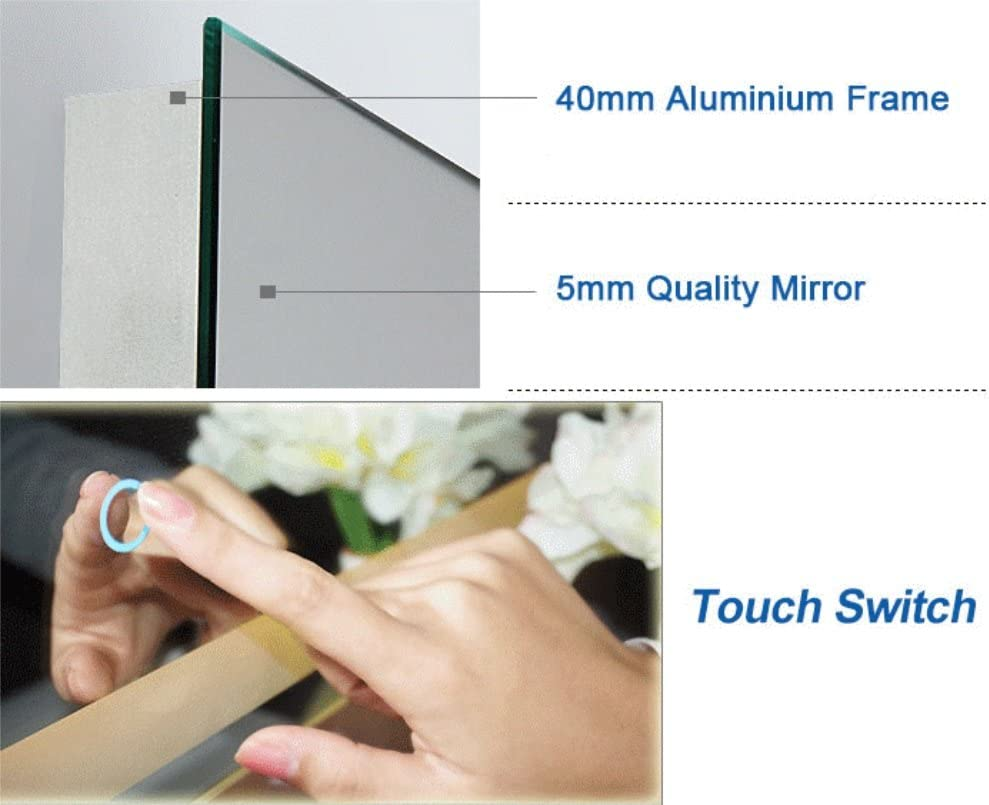 DP Home 24 LED Lighted Illuminated Bathroom Vanity Wall Mirror with Touch Sensor Vertical Rectangle White Mirrors 24 x 32 in E-CK010
