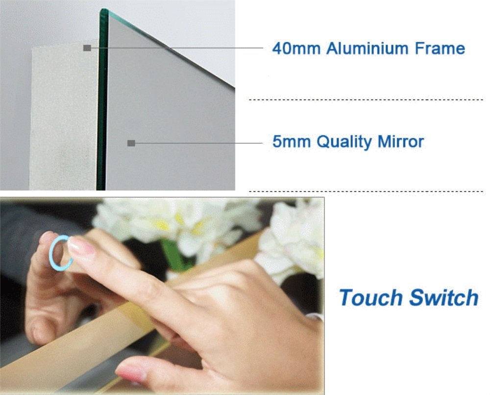 DP Home 24'' LED Lighted Illuminated Bathroom Vanity Wall Mirror with Touch Sensor, Vertical Rectangle White Mirrors 24 x 32 in E-CK010 by DP Home (Image #3)