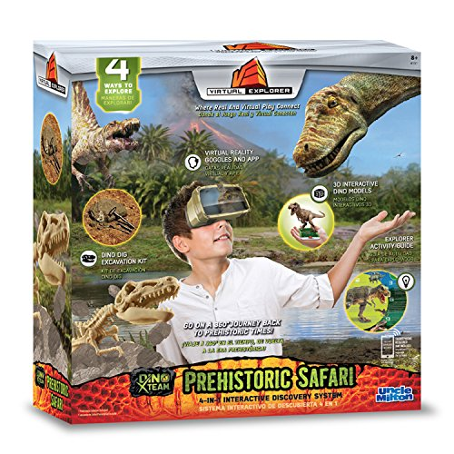 Virtual Explorer Prehistoric Safari 4-in-1 VR, AR, hands-on play and learning system with Dino Excavation Kit, VR Goggles and App, Augmented Reality cards and Explorer - Model Virtual