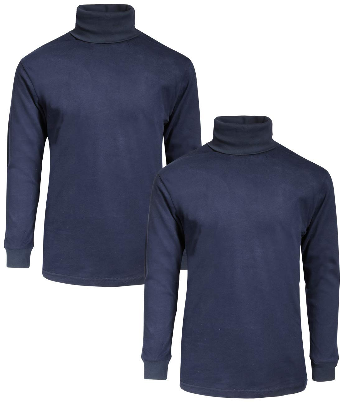 Beverly Hills Polo Club Boy's School Uniform 2-Pack Long Sleeve Turtleneck Shirts, Navy/Navy, 8/10'