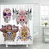 Emvency 72''x78'' Shower Curtain Waterproof Home Decor Dead Holy Death Mexican Sugar Vintage Design Holiday Sombrero Angel Black Bone Arms Picture Print Polyester Fabric Adjustable Hook