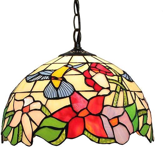 Tiffany Estilo 12 Pulgadas Lámpara Colgante Pájaro Flores