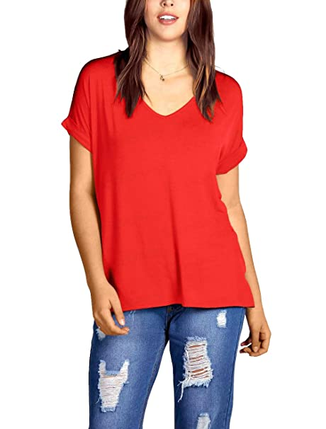 717b582c83fd25 The Celebrity Fashion Womens Oversized Baggy Top Loose Fit Roll Turn up  Batwing Sleeve V Neck T Shirt  Amazon.co.uk  Clothing