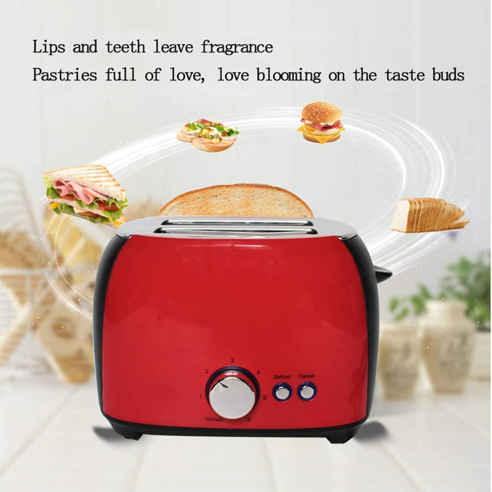 Toaster 2 Slice, Retro Small Toaster,Cancel, Defrost Function, Extra Wide Slot Compact Stainless Steel Toasters for Bread Waffles, Ideal Gift for Family & Friends,Red