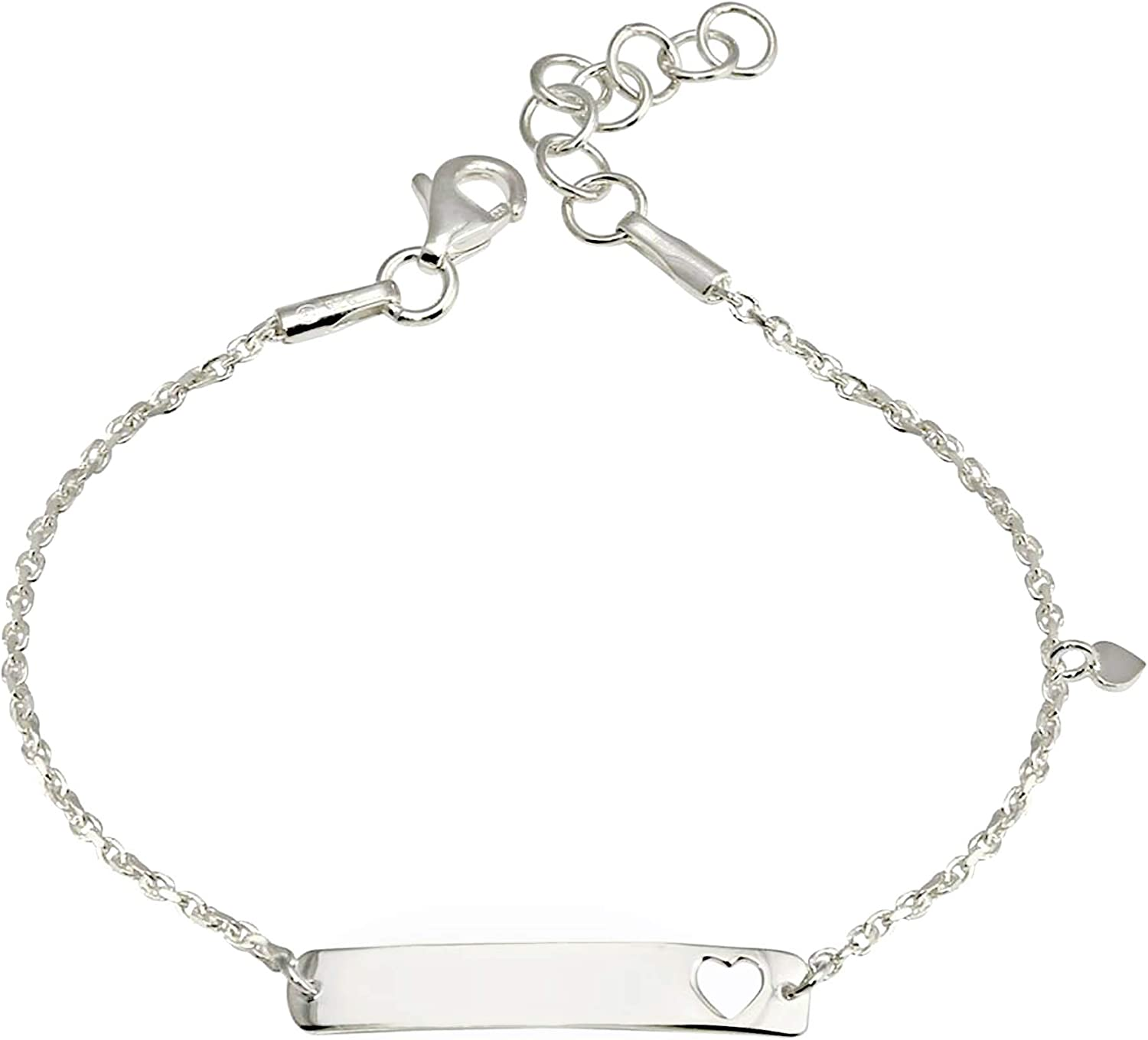 Italian 925 Sterling Silver Rhodium Plated Baby//Children//Kids ID Heart Shape Cut Out and Heart Shape Charm Link Chain//Bracelets 5.5-6 Extension