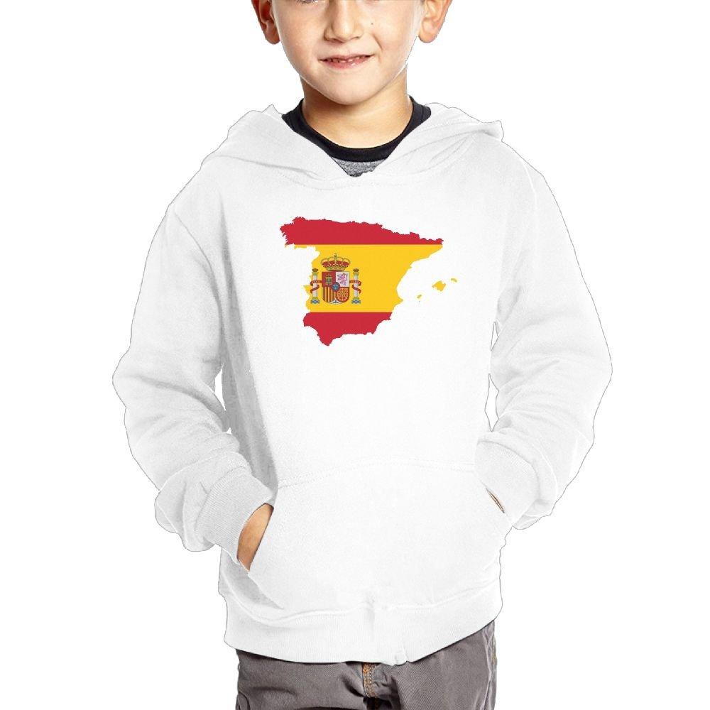 Anutknow Map Shape Spainish Flag PLVS VLTRA Logo Childrens Fashion Casual Hooded Pocket Sweater
