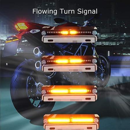Motorrad Lizenz Kennzeichenbeleuchtung f/ür Motorrad Roller Gel/ändefahrzeug Bernstein Lichter Lichtleiste Evermotor Motorrad Indikatoren 2/×12V 12 LEDs Lampen flie/ßende Blinker Motorrad Anzeigen