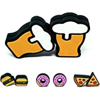 Tennis Feel Healthy Pack • Food-shaped vibration dampeners • Beer - Hamburgers - Donuts - Pizza • Set of 2